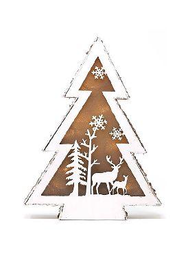 arbol de navidad madera led 18 cms