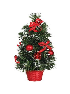 arbol decorado rojo 40 cms nevado