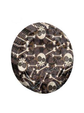 bolsa de 8 platos calaveras y huesos