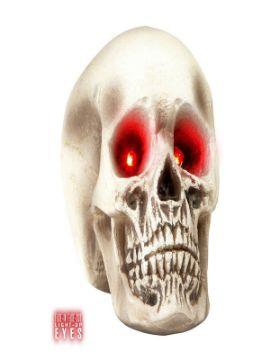 calavera con ojos rojos luminosos
