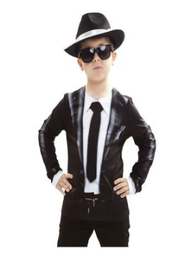 camiseta disfraz blues brothers para niño