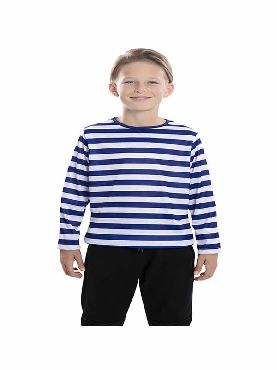 camiseta rayas blancas y azules infantil