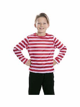 camiseta rayas blancas y rojas infantil