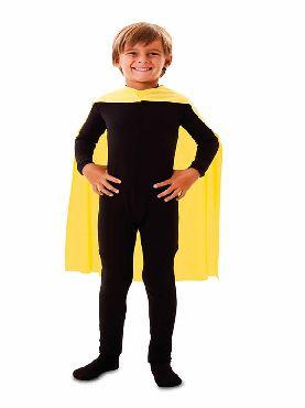 capa superheroe infantil amarillo de 70 cm