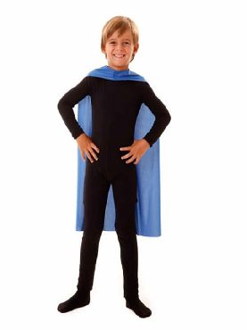 capa superheroe infantil azul de 70 cm