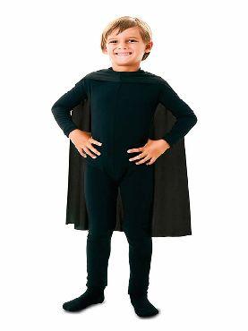 capa superheroe infantil negro de 70 cm