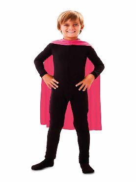 capa superheroe infantil rosa de 70 cm