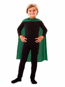 capa superheroe infantil verde de 70 cm