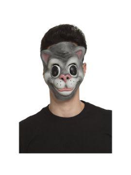 careta de gato gris risueño