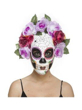 careta dia de los muertos con telarañas y flores