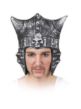 casco guerrero demonio con calavera gris plata