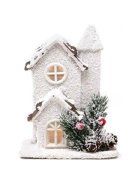casita de madera led 17 cms para navidad