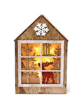 casita de madera led 20 cms con reno