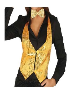 chaleco de lentejuelas oro mujer