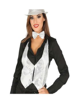 chaleco de lentejuelas plata mujer