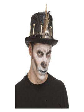 chistera de vudu de esqueleto con plumas