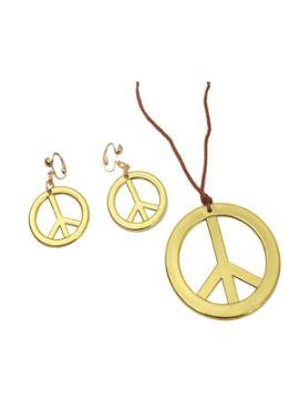 colgante y pendientes hippies oro