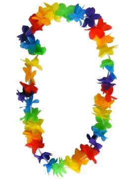 collar hawaiana con flores de tela y unido a hilo