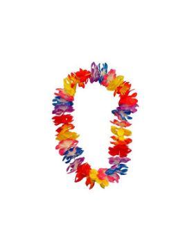 collar hawaiana con flores grandes de tela y unido a hilo