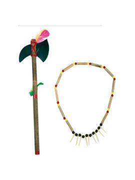 collar y hacha de indio