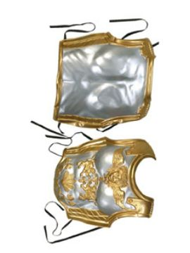 coraza romana decorada oro y plata 2 partes 58 x 42 cm
