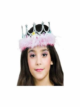 corona de estrellas con marabu rosa