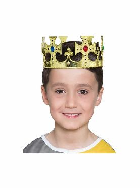 corona de plastico de rey dorada