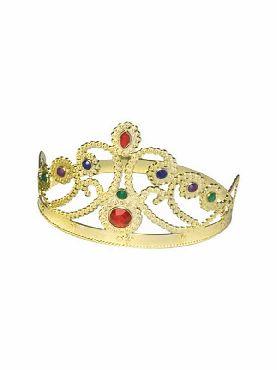 corona dorada con piedras preciosas