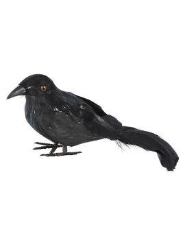 cuervo con plumas naturales base corcho 22x6x9 cm
