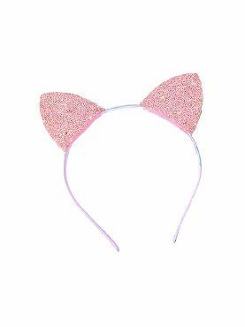 diadema con orejas de gatos purpurina rosa