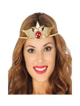 diadema de superheroina dorada con estrella