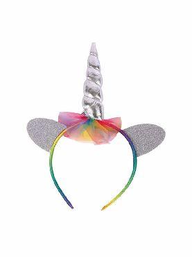diadema de unicornio plateada infantil