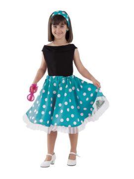 disfraz de años 50 azul niña
