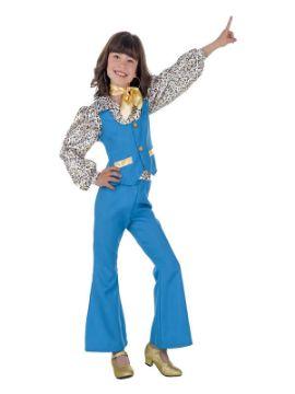 disfraz de años 70 azul para niña
