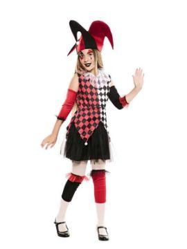 disfraz de arlequina roja para niña