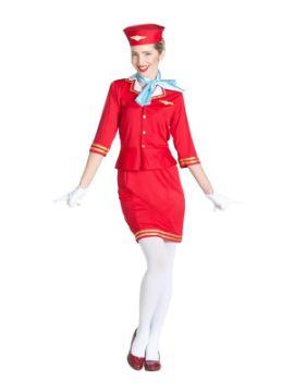 disfraz de azafata de vuelo roja mujer