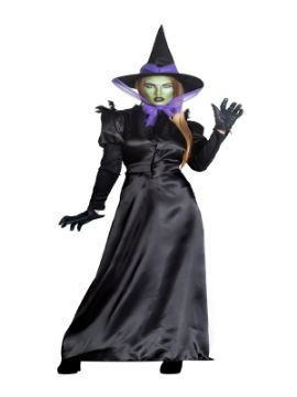 disfraz de bruja negra y morada malvada mujer