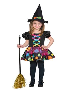 disfraz de bruja topos colores niña