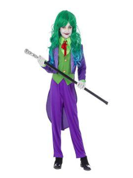 disfraz de bufon joker malvado niña