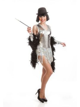 disfraz de cabaret plata barato para mujer