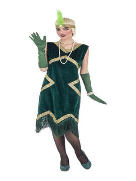 disfraz de charleston lujo verde para mujer