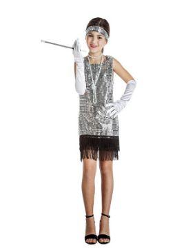 disfraz de charlestón plata con flecos niña