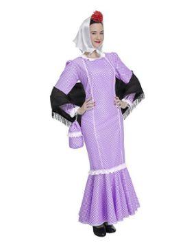 disfraz de chulapa lila para mujer
