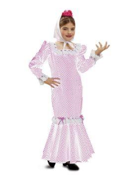 disfraz de chulapa rosa y blanca para niña