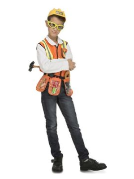 disfraz de constructor con accesorios para niño