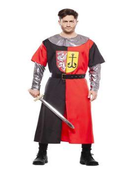 disfraz de cruzado rojo y negro hombre