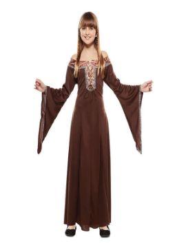 disfraz de dama medieval marron niña