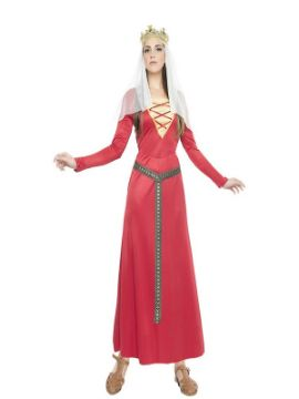 disfraz de dama medieval roja mujer