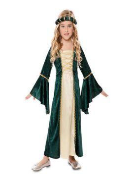 disfraz de dama medieval verde niña
