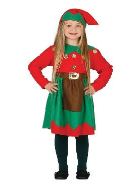 disfraz de elfa roja y verde para niña